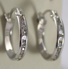 """SOLID 18K WHITE GOLD CIRCLE EARRINGS WITH ZIRCONIA, DIAM 0.51"""" MADE IN ITALY"""