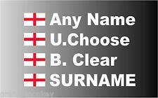 """""""SMALL"""" English Rally Car Name decal sticker graphics St George Flag"""