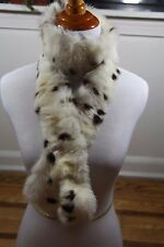 "Vintage Rabbit Fur Scarf Wrap Collar Brown White Spots Pattern 52"" long 2"" w"