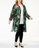 Alfani Women's Plus Leaf Print Long Sleeve Sheer Open Front Kimono Size 2X / 3X