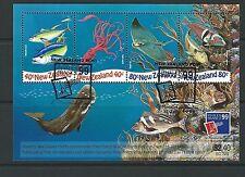 NUOVA ZELANDA 1999 PHILEXFRANCE '99 UNDERWATER WORLD MINIFOGLIO PREGIATO USATO