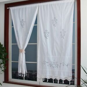 Pair Curtain Tape Top Cotton Curtains Window Drape Hand Crochet Panel Ready Made