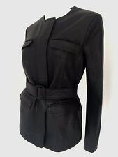 PAUL SMITH BLACK LABEL BLACK BELTED LEATHER JACKET UK SIZE 12 IT 44 RETAIL £675