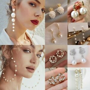 Charm Pearl Crystal Ear Stud Earrings Drop Dangle Women Wedding Jewelry Gift Hot