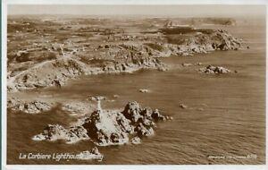 SUPERB OLD AERIAL VIEW R/P POSTCARD - LA CORBIERE LIGHTHOUSE - JERSEY 1954
