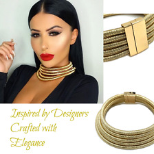 Kim Kardashian Choker Necklace - GOLD Designer inspired Metal Acccessory Choker