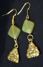 "Gold Buddha Lt Green Agate 2"" Dangle Drop Earrings"
