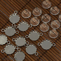 10Sets 12mm Clear Domed Glass Cabochon Cover for Flat Round DIY Photo Brass Link