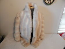 Women's Fall Winter Coat Size 12 White FAUX FUR DUBROWSKY & PERLBINDER