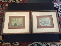 Vintage ANTON PIECK Framed & Matted Art Prints (2) Excellent  condition