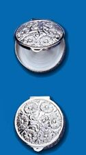 Sterling Silver Embossed Round Pill Box
