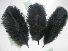 """5 pcs BLACK Ostrich Feathers Millinery and Crafts 6"""" x 8"""" 20 x 15cm"""