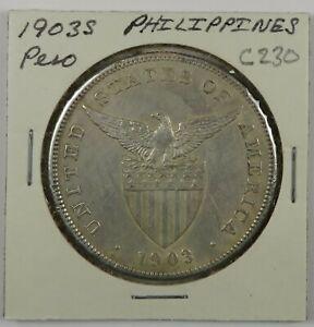 C230 Philippines, 1903 AR One Peso, San Francisco Mint D