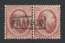 Nederland 1864 NVPH 5 paar met volledig FRANCO - kastjestempel