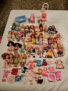 Large Barbie Kelly Doll And Like Lot Of 36 Dolls Clothes Accessories