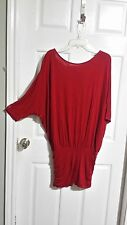 Express Deep Red Long Cross Over Blouse or Dress Size S WC1128