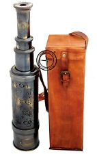 24'' Solid Brass Hand Held Telescope - Pirate Spyglass with Leather Case