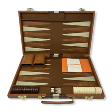 "Vintage Backgammon Brown Faux Leather Briefcase | Brown, Cream | 22"" x 18"""