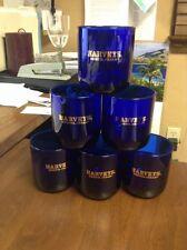 6 - COBALT BLUE HARVEYS BRISTOL CREAM GLASSES - GOLD LETTERING