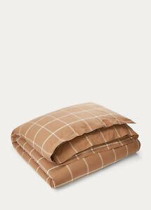 Modern Equestrian Windowpane Cotton & Cashmere Duvet Cover Came/Cream MSRP $500