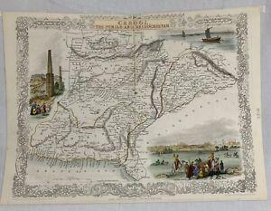 Antique 1850s Tallis Rapkin Cabool Punjab Beloochistan Map - 59501