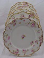Haviland Limoges Double Gold Schleiger 39D Pink Drop Roses Set 6 Dinner Plates