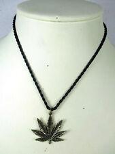 Hanfblatt Anhänger Halskette ´925 Silber 45 Jahre alt original Thailand 1970 11g
