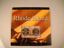 2001 Rhode Island Two U.S. Quarter Dollars P& D Mints, booklet and new  quarters