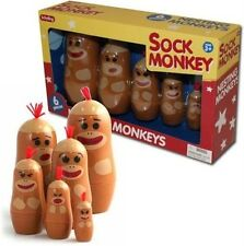 Sock Monkey Nesting Family (6 Set) Russian Style Dolls Funny Faces Schylling Toy