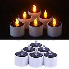 6pcs Solar Power LED Tealight Flickering Flameless Candles Tea Night Lights GW