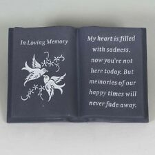 New Memorial Dove Bird Flower Verse Book Grave Sentimental Plaque Stone Ornament