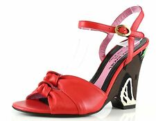 Sonia Rykiel NAPPA Red Leather Ankle Strap Wedge Sandals 8881 Size 36 EU NEW$495