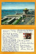 SINGAPORE VINTAGE POSTCARD STAMP CLIFFORD PIER AND CHANGE ALLEY AERIAL PLAZA