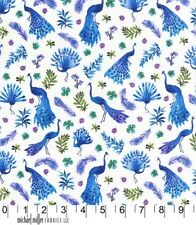 Peacock Park Blue Birds Michael Miller Fabric FQ or Metres 100% Cotton
