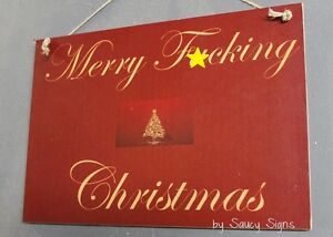Naughty F*cking Merry Christmas Sign Xmas Decorations Tree Lights Gift Cards