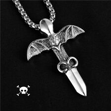Bat Sword Stainless Steel Pendant �from Us】Vintage Gothic Rocker Biker Cross