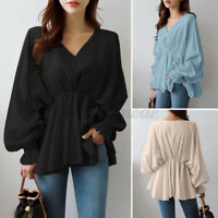 2021 Womens Flare Peplum Puff Sleeve Tops Shirt Casual Loose V Neck Tunic Blouse