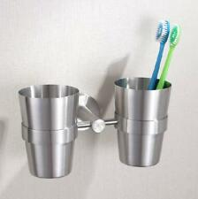 Bathroom Toothbrush Dual Cups Holder Tumbler Wall Mount Brushed Nickel Stainless