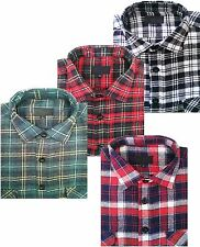 Mens Flannel Brushed Cotton Work Shirts Lumberjack Check Long Sleeves Size S-5XL