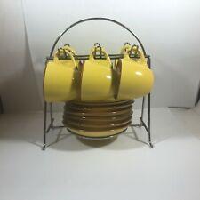 Vintage Ceramic Yellow Brown Heavy 6 Setting Tea Set Child's Play