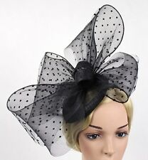STUNNING BLACK SINAMAY FASCINATOR WITH VELVET SPOTTED NETTING & LARGE BOWS/LOOPS