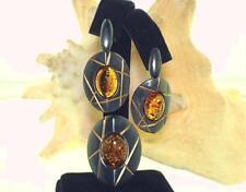 2-Tone Black Oxidized 925 Silver Baltic Sea Honey Amber Pendant Earrings Set #5
