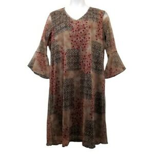 Expressions 2X Dress Long Modest Tan Red Black Floral V Neck Sheer Bell Sleeves