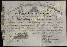 1842 Superb FARMERS & GENERAL FIRE & LIFE INSURANCE CO. £10- Share Certificate