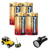4PC Alkaline C-Size Batteries 1.5 V Long Lasting Battery All Purpose Home Office