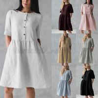 Women Short Sleeve Linen Shirt Dress Casual Loose Beach Mini A Line Dress Plus
