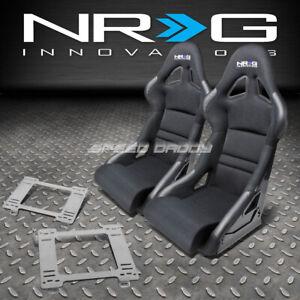 NRG DEEP BUCKET RACING SEATS+CUSHION+STAINLESS STEEL BRACKET FOR 90-97 MX5 MIATA