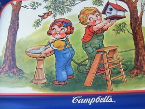 Campbell Kids Campbell Soup Metal Tray Ready for Spring USA 1997 Blue