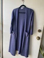 LuLaRoe Sarah Cardigan Duster Sweater Dark Blue Heathered Size XS Long Pockets