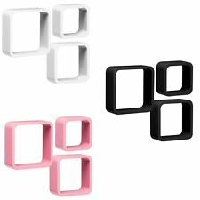 Premier Housewares Set of 3 Wall Cubes Shelves Storage Pink Rounded Corners